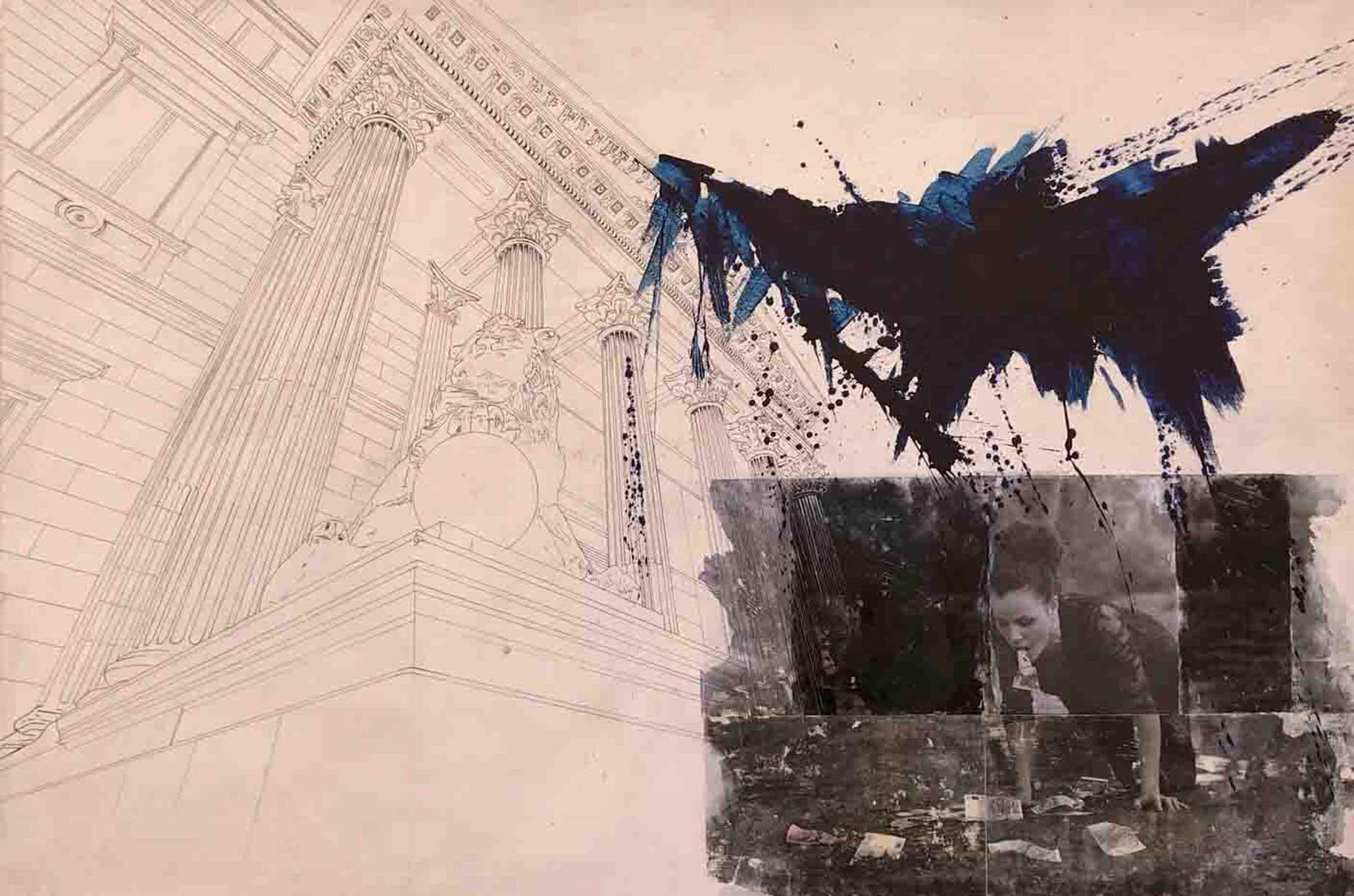 Obra perteneciente a la serie de transfers de grandes dimensiones. Técnica mixta: transfer, pigmento y dibujo sobre madera.